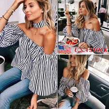 Women's Off-shoulder Puff Sleeve Casual Tops Loose Blouse Shirts Summer T Shirt