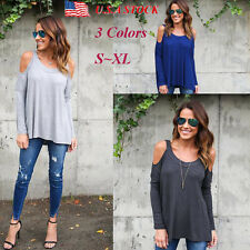 Women's Cold Shoulder Casual Tops Long Sleeve Loose Blouse Shirts Summer T-Shirt