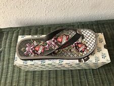Ed Hardy Mens NEW Black beach Flip Flop with box Love Kills Slowly Design