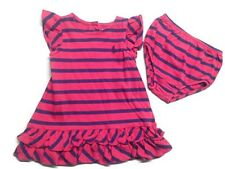 Ralph Lauren Baby Girls' Red and Navy Stripe Ruffle Dress