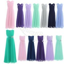 Princess Flower Girl Sleeveless Chiffon Long Wedding Bridesmaid Party Maxi Dress