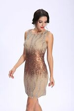 ANNEF   Silk Chiffon Fully Beaded Cocktail Party Gold Short Dress