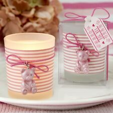 Pink Teddy Bear Themed Frosted Glass Votive - Baby Shower - Lots of 20-70