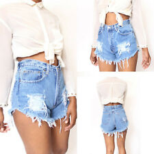 Ladies Women Vintage Ripped High Waisted Stonewash Denim Shorts Jeans Hot Pants