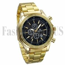 New Luxury Men's Gold Tone Stainless Steel Band Quartz Analog Sport Wrist Watch