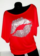 Sexy Shiny Silver Lips on a Flowy Draped-Sleeve Dolman Tee!