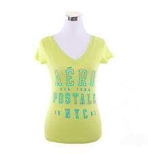 Aeropostale Women Casual Solid V-Neck Graphic T Shirt Style 9850-Free $0 Ship