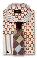 Dress Shirt by Steven Land Spread Collar French Cuff- Brown -DW1736-BR