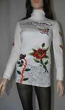 Ed Hardy Women's Long Sleeves Light Beige T-shirts