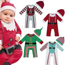 Christmas Boys Girls Infant Baby Romper Clothes Hat Costume Outfits Xmas