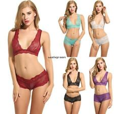 Women Sexy Lingerie Set Unlined Bralette Hollow Underwear Floral Lace Bra WN01