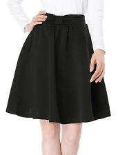 Allegra K Women Elastic Waistband Above Knee Pleated Bow Flared Skirt