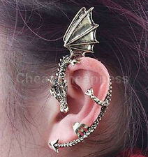 Gothic Metal Dragon Bite Ear Cuff Wrap Vintage Rock Punk Temptation Earring PNC
