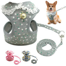 Mesh Fabric Pet Puppy Dog Harness&Leash with Bell for Dogs XS S M L Grey Pink