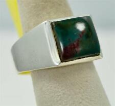 RARE NATURAL BLOODSTONE MARCH BIRTHSTONE 925 SILVER MENS RING #r0229 P6121