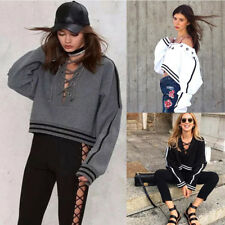 2017 Women Lace-up Blouse Long Sleeve Hoodie Casual Pullover Sweatshirt Top