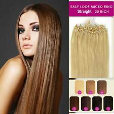 "20"" Easy Loop Micro Rings Beads Tip Straight Remy Human Hair Extensions Straight"