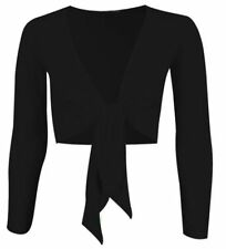 Womens Tie Knot Shrug Ladies Plain Bolero Front Cardigan Top Cropped Long Sleeve