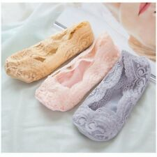 2PCS Women Invisible No Show Nonslip Loafer Lace Boat Liner Low Cut Cotton Socks
