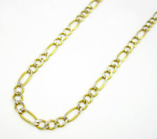 2MM Real 10K Yellow Gold Pave Diamond Cut Figaro Necklace Chain 16-22 Inches