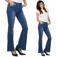 Womens 60s 70s Bootcut Flared Jeans Blue Faded Stretch Denim Bellbottom Flares