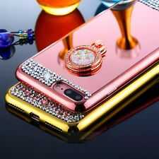 Bling Crystal Ring Holder TPU Mirror Back Cover Case For iPhone 5S 6 6S 7 Plus T