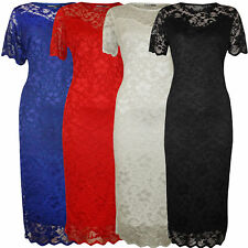 Womens Ladies Plus Size Nauvelle Sweetheart Lace Lined Bodycon Floral Midi Dress