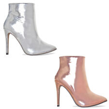 Womens Ladies Metallic Stiletto Ankle Boots High Heel Boots  Side Zip Size