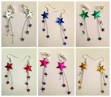 Silver plated Star burst drop hook, Clip-on earrings - wedding - gifts