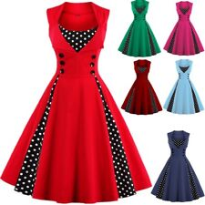 AU Women's Vintage Style 1950s Rockabilly Party Prom Ladies Swing Skaters Dress