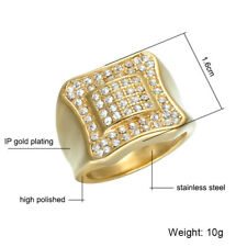 Mens Iced Out Pinky Ring Stainless Steel 316L Simulated Diamonds 18K Gold Finish