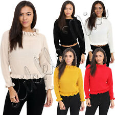 New Womens Ruffle Frill Edge Chunky Knit Ladies Turtle Polo Neck Jumper Crop Top