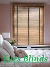 MADE TO MEASURE Light Oak Wooden Venetian Window Blind 35mm With Tapes