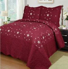 Fancy Linen 3pc Burgundy Star Bedspread Quilt Set Embroidery All Sizes New
