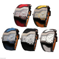 Hot OULM Military Two Time Zones Quartz Wrist Watch Leather Cool Sports Mens