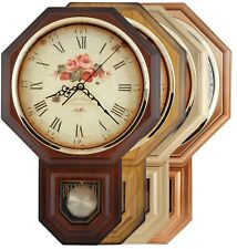 Traditional Schoolhouse Pendulum Wall Clock with Westminster Chime W/4 Batteries