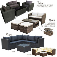 Black/Brown PE Wicker Rattan Garden Patio Lounge Sofa Setting Outdoor Furniture