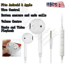 3.5mm Earbuds Headset Earphones In-Ear W/Remote & Mic Fits Android & Apple Ios