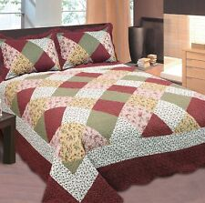 Fancy Linen Bedspread Coverlet Floral Patchwork Burgundy Off White all Sizes New