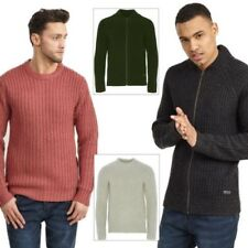 Brave Soul Mens Surgeon Waffle Cable Knitted Jumper OR Merley Zip Up Cardigan
