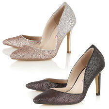 Dolcis Ladies Wedding Bridal Glitter Toe High Heel Stiletto Courts Pumps Shoes