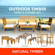 Timber Outdoor Furniture Table Chairs Bench Seat Set Patio Garden Seater Setting