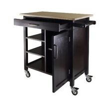 Wood Kitchen Island Cart Rolling Storage Expansion Shelves Cabinet Organizer New