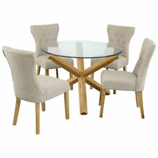 New Oporto Solid Oak & Glass Dining Table Round: 107cm or 120cm