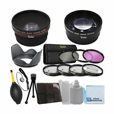 Vivitar 58mm 0.43x Wide Angle Lens + 2.2x Telephoto Lens + 3 Pieces Filter Se...