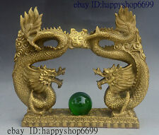 "13"" China Dynasty Palace Pure Bronze FengShui Animal Wealth Zodiac Dragon Statue"