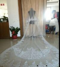 2017 2T 3M Cathedral Wedding Sequins White/Ivory Applique Bridal Veil Free Comb
