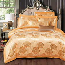 Royal Gold Floral Satin Jacquard Egyptian Cotton Queen King Size Quilt Cover Set