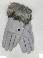 New Womens Ladies Faux Leather Smart Gloves Soft Lined Warm Faux Fur Cuff Xmas