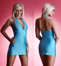 Sexy Halter Neck Mini Dress Rhinestone Clubwear GOGO NEON in 6 Colors S-M / M-L